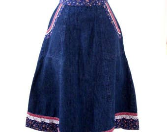 Vintage 70s GUNNE SAX Blue Denim Skirt - Boho Chic Cotton Blue Jean Skirt with Calico - High Waist Hippie Boho Skirt - Size Small to X Small