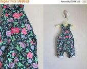 reserved///50% off KIDS SALE vintage girl's overalls - OSHKOSH floral print denim jumpsuit / 12M