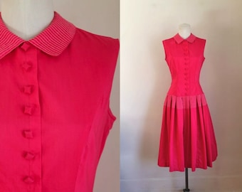 vintage 1950s dress - WATERMELON pink drop waist dress / S