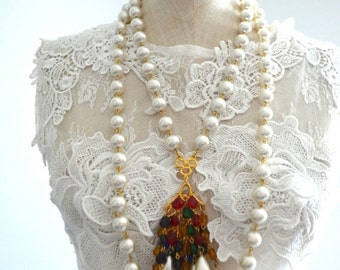 Sale 20% OFF Vintage MULTI STRAND Pearl Necklace w/ Cluster of Colorful Beads Pendant Statement Costume Jewelry