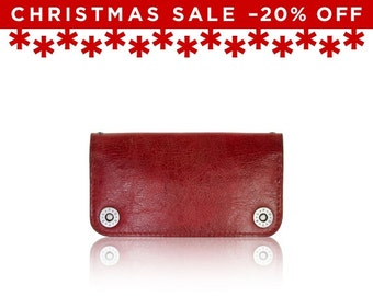 Christmas Sale -20% Off - - iPhone 6+, iPhone 7+ RETROMODERN aged leather wallet - - RED