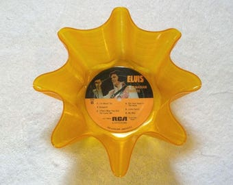 Elvis Presley Record Bowl Made From Yellow Colored Vinyl Album