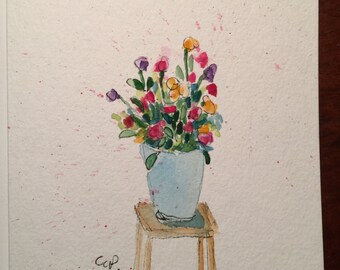 Simple Blooms in Vase Watercolor Card / Hand Painted Watercolor Card