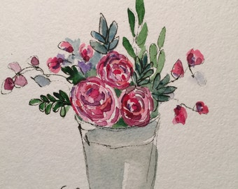 Vase of Flowers Watercolor Card / Hand Painted Watercolor Card