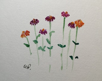 Simple Zinnia Watercolor Card / Hand Painted Watercolor Card