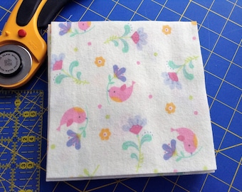 Flannel 6 Inch Fabric Squares, 30 Precut Squares, Rag Quilt Squares, Craft, Sewing Supply, Pink Birds, Flowers, Soft Flannel