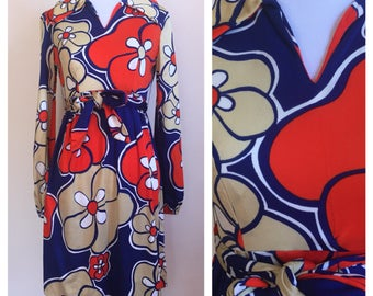 Vintage 1970's Red Blue Cream Psychedelic Flower Power Collared Long Sleeve Mod Hippie Frock Dress size Medium M