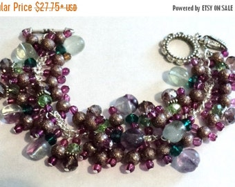 BLACK FRIDAY SALE Charm Bracelet, Purple and Brown, Wine, Winery Gift, Wine Accessory, Wine Jewelry - Wine Count