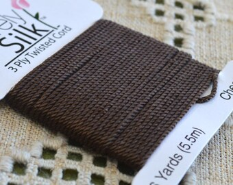 Purely Silk Chestnut Brown 1mm Twisted Cord Thread 3-ply 6 Yard Card