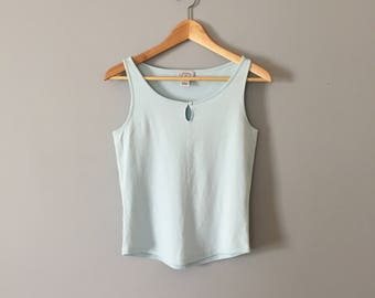 baby blue cotton top | 90s cropped loop Ann Taylor top