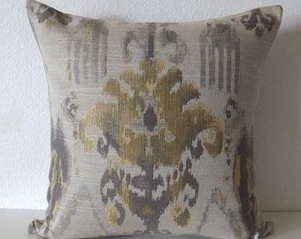 Rustic Gold Grey Ikat Pillow Cover