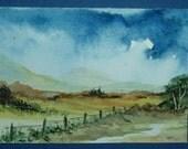 aceo art painting watercolour landscape (ref 437)