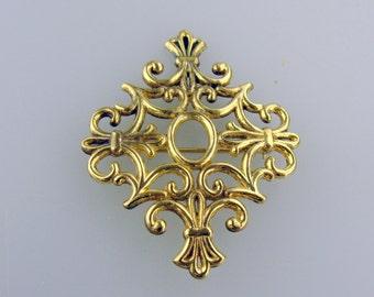 Sterling Vermeil Fleur de Lis brooch