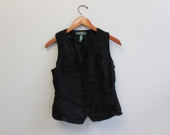 Vintage Beaded and embroidered 90s Black Jean Vest By Ralph Lauren