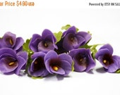 Miniature Polymer Clay Flowers Supplies Pansy with Leaves 6 stems