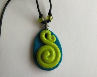 Spiral green and teal polymer clay pendant necklace