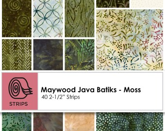 """Cotton Quilting Precut Jelly Roll """"Moss"""" From Maywood Studios Jave Batik Jelly Roll"""
