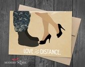 Love is Greater Than Distance (Navy Couple) - 5x7 Greeting Card