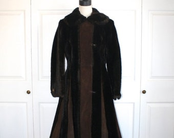 40% OFF SALE 1970s Mink & Leather Coat . Vintage 70s Victorian Style Dark Brown Faux Mink and Suede Maxi Coat . Tissavel France . Size Small