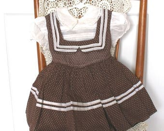 1950s Baby Girl's Dirndl Dotted Swiss Dress . Vintage 50s White Blouse Bodice with Brown Polka Dot Dress . Size 18 - 24 Months