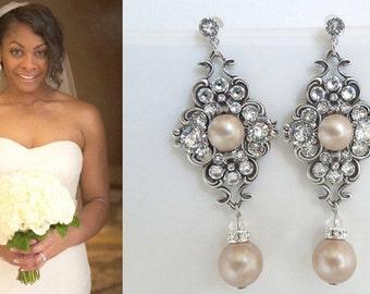 Champagne swarovski Pearl Earrings Bridal Earrings Bridal Rhinestone Earrings Pearl Rhinestone Earrings swarovski Pearl  Earrings CLAUDE