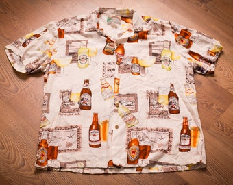 Paradise Found Imported Beers Shirt, Rayon, Honolulu Hawaii, Vintage 80s-90s
