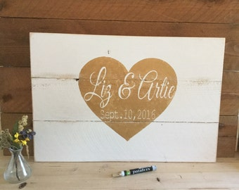 Wedding Guest Book Alternative - Wedding  Decor Signs Rustic - Wedding Signage - Personalized Wedding Sign - Pallet Sign - Guestbook 16x24