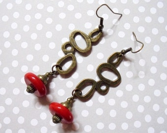 Red and Brass Ethnic Inspired Earrings (3142)