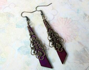 Dark Violet and Brass Filigree Boho Earrings (3270)