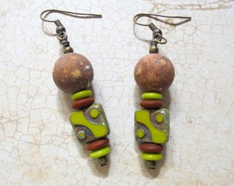 Chartreuse and Brown Boho Earrings (3416)