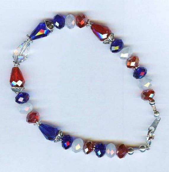 Patriotic Red White & Blue Faceted Crystal Bracelet - Anklet 2