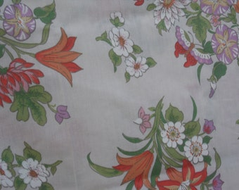 Dan River vintage twin flat sheet cream background butteflies flowers morning glory lily and more in purple orange white pink yellow green