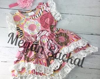 Free Shipping, Pink Donut Dress and Headband Set, Sprinkle Donut Dress
