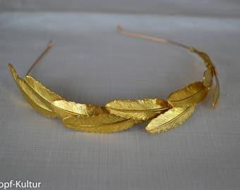 Gold Feather Headband, Headpiece, Bridalheadband, Brass Elements, Gold Headpiece, Gold Bridal Crown