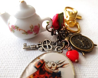 Alice in Wonderland inspired bag charm/zipper pull - Ordinary Rabbit (Teapot)