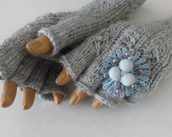 Light gray Half Finger-Gray Fingerless Gloves-Fingerless Gloves, Arm Warmers