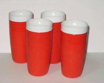 Therm-O-Ware Plastic Orange Tumblers Drinking Glasses Olympian Mid Century Retro Kitchen 4174