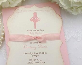 Ballerina Ribbon Invitations Baby Shower Birthday Pink Invites Ballet Set of 10