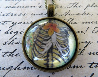 Vintage Look Rib Cage Pendant With Antique Gold Toned Necklace