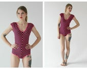 90s Pink & Black Stripe Bodysuit- Leotard, Chevron, M, Bold Neon Bodycon