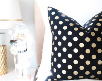 Metallic Gold Dots Pillow Cover - Black and Gold - BOTH SIDES - Polka Dots - Decorative Pillow - Designer Pillow - Dots Pillow -