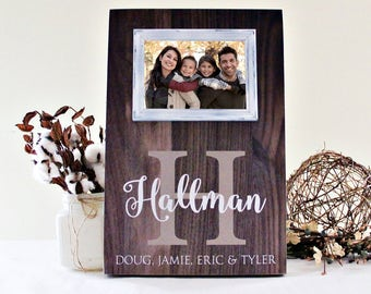 Family Picture Frame, Housewarming Gift Idea, Anniversary Picture Frame, Monogram Family Name