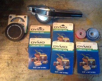 Vintage Chrome Dymo 1570 Label Maker Embosser with Accessories