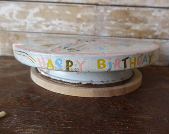 Vintage Happy Birthday Wind Up Musical Rotating Cake Plate