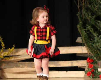 Toddler Girl's Pageant Theme OOC Lumberjack Denim Poofy Tutu Skirt, Buffalo Check Flannel Shirt, Sash and Suspender sizes 12 month thru 10