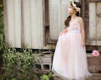 Toddler-Girls Satin and Tulle Summer Wedding Flower Girl Full Length Greek Goddess Dress, Silk Flower Embellishments with Floral Hair Wreath