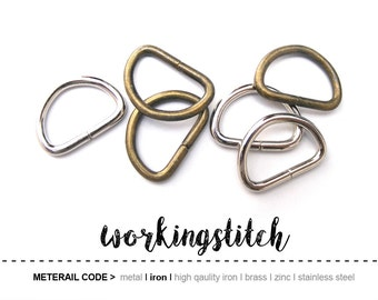 50pcs 17mm (inside) D-ring FOB Purse Hardware Finding for Purse Ring, Clasps Hook Ring