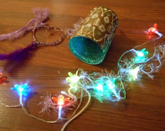FAIRY LIGHT SWaG DISPLAY brass painted bell w/ handmade stuff hearts , glitter & lights battery power for anywhere