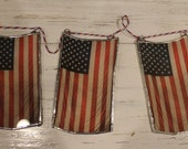"Glass Old Glory, American Flag, Stars and Stripes 2.5"" x 5"" lacquered glass"