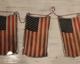 """Glass Old Glory, American Flag, Stars and Stripes 2.5"""" x 5"""" lacquered glass"""